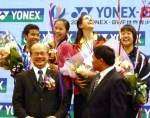 Happy smile of four medalists