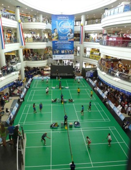 Badminton courts in the mall