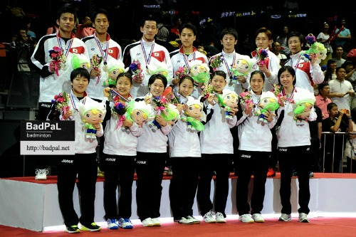 Team Japan stood on the podium for the first time in Sudirman Cup ~photo courtesy of LIM CheeSen